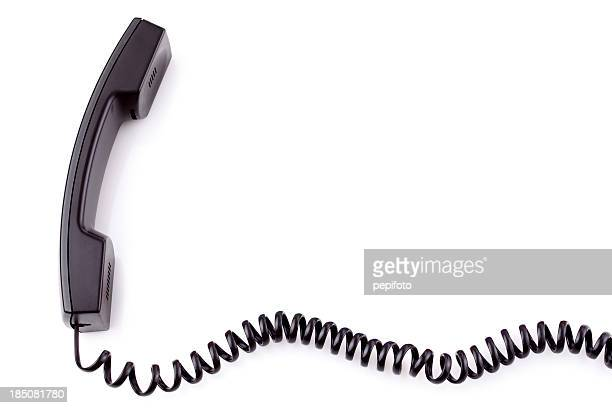 Corded telephone handset taken off the hook