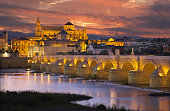 Cordoba - The Roman bridge and gate with the Cathedral in the background at evening dusk