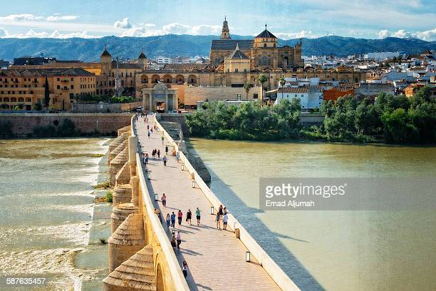 Cordoba Roman Bridge crossing Guadalquivir River