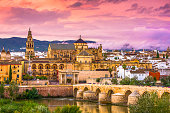 Cordoba, Spain at the Mosque-Cathedral and Roman Bridge.