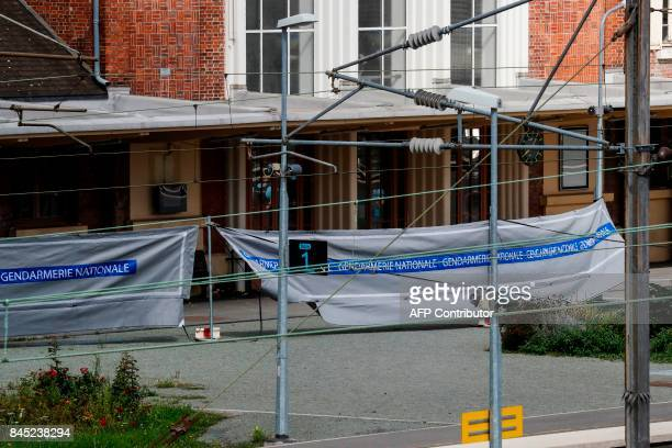 A cordonedoff safety perimeter set by Gendarmes is pictured on a platform of the railway sation in Noyon northeast of Paris following a shooting on...