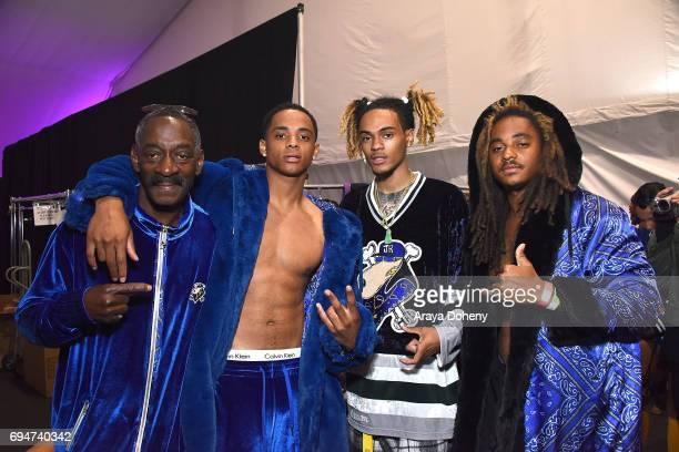 Cordozar Calvin Broadus Sr Cordell Broadus guest and Corde Broadus backstage at the MADE Los Angeles Wiz Khalifa And Taylor Gang at LA Live on June...
