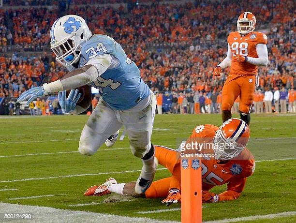 Cordrea Tankersley of the Clemson Tigers knocks Elijah Hood of the North Carolina Tar Heels outofbounds just short of the goal line during the...