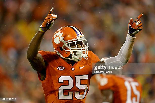 Cordrea Tankersley of the Clemson Tigers reacts after a play against the Notre Dame Fighting Irish during their game at Clemson Memorial Stadium on...