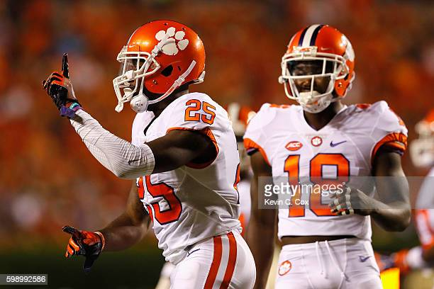 Cordrea Tankersley of the Clemson Tigers reacts during the first half against the Auburn Tigers at Jordan Hare Stadium on September 3 2016 in Auburn...