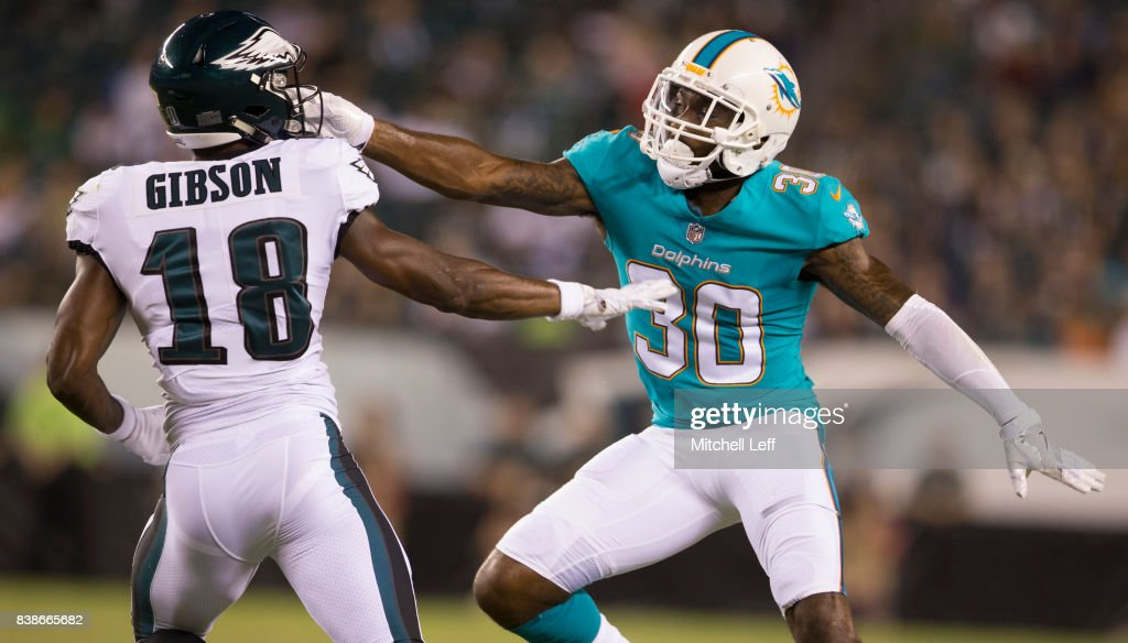 Cordrea Tankersley #30 of the Miami Dolphins covers Shelton Gibson #18 of the Philadelphia Eagles in the fourth quarter of the preseason game at Lincoln Financial Field on August 24, 2017 in Philadelphia, Pennsylvania. The Eagles defeated the Dolphins 38-31.