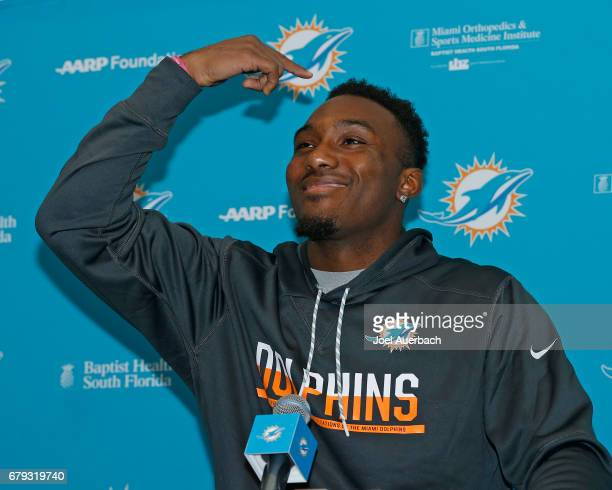 Cordrea Tankersley of the Miami Dolphins talks to the media during the rookie minicamp on May 5 2017 at the Miami Dolphins training facility in Davie...