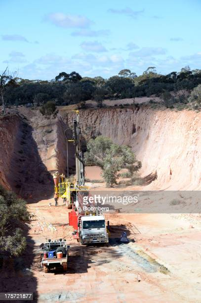 A core drill operates in a mine pit at the Phoenix Gold Ltd Castle Hill gold project in Kunanalling northwest of Kalgoorlie Australia on Tuesday Aug...