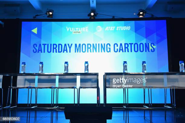 Core Hydration water bottles on the stage before Saturday Morning Cartoons at the 2017 Vulture Festival at Milk Studios on May 20 2017 in New York...