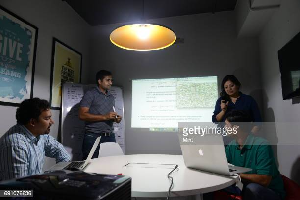 Core team of Embibe photographed during a discussion Achint Thomas Principal Data Scientist Keyur Faldu Chief Data Scientist Aditi Avasthi CEO and...