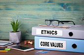 core values and ethics. Successful business and career background