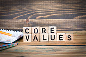 core values. Wooden letters on the office desk, informative and communication background