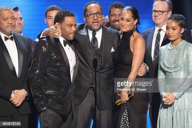 Corecipients Laurence Fishburne Anthony Anderson Kenya Barris Tracee Ellis Ross and Yara Shahidi accept award for Outstanding Comedy Series...