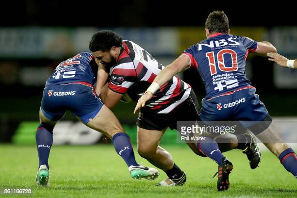 Coree Te WhataColley of Counties is tackled during the round nine Mitre 10 Cup match between Counties Manukau and Tasman at ECOLight Stadium on...
