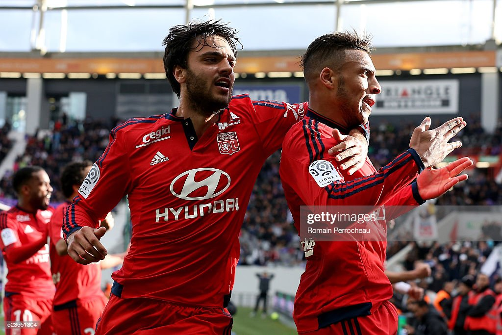 <a gi-track='captionPersonalityLinkClicked' href=/galleries/search?phrase=Corentin+Tolisso&family=editorial&specificpeople=9982829 ng-click='$event.stopPropagation()'>Corentin Tolisso</a> and <a gi-track='captionPersonalityLinkClicked' href=/galleries/search?phrase=Clement+Grenier&family=editorial&specificpeople=5774493 ng-click='$event.stopPropagation()'>Clement Grenier</a> of Lyon react after scoring during the French Ligue 1 match between Toulouse and Lyon at Stadium Municipal on April 23, 2016 in Toulouse, France.