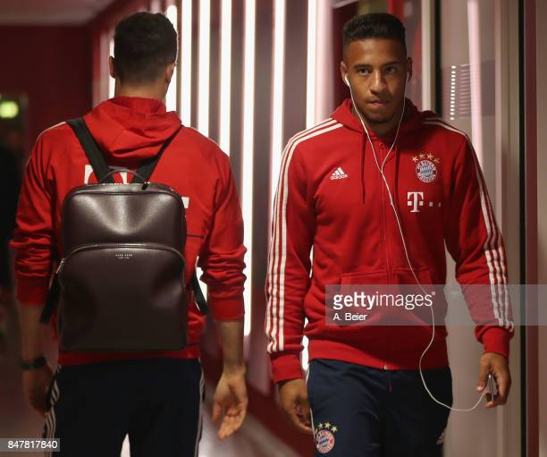 Corentin Tolisso and Robert Lewandowski of FC Bayern Muenchen are pictured at the players' tunnel before the Bundesliga match between FC Bayern...