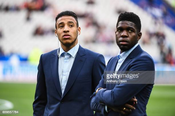 Corentin Tolisso and Samuel Umtiti of France during the friendly match France and Spain at Stade de France on March 28 2017 in Paris France