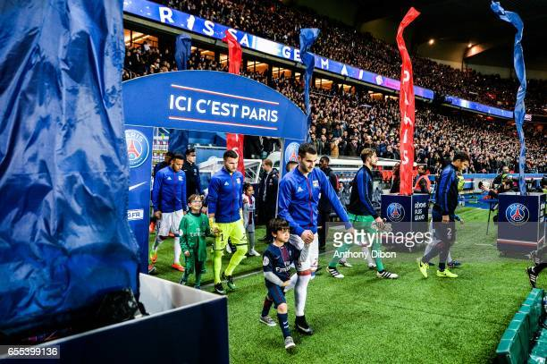 Corentin Tolisso Anthony lopes and Maxime Gonalons of Lyon during the French Ligue 1 match between Paris Saint Germain and Lyon at Parc des Princes...