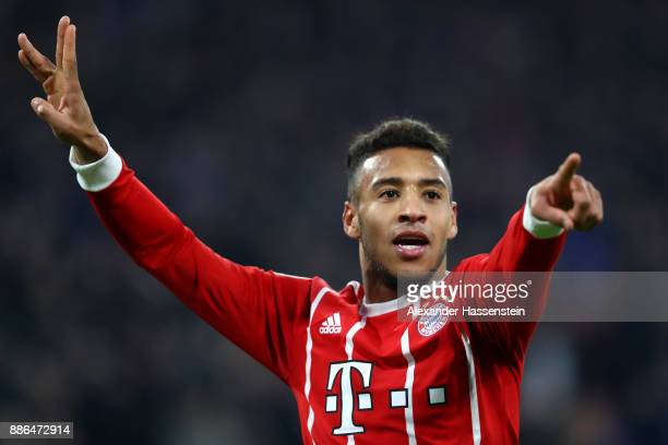 Corentin Tolisso of Bayern Muenchen celebrates after scoring his sides third goal during the UEFA Champions League group B match between Bayern...