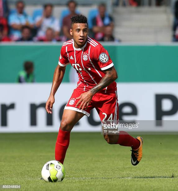 Corentin Tolisso of Bayern Muenchen controls the ball during the DFB Cup first round match between Chemnitzer FC and FC Bayern Muenchen at...