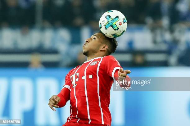 Corentin Tolisso of Bayern Muenchen controls the ball during the Bundesliga match between FC Schalke 04 and FC Bayern Muenchen at VeltinsArena on...