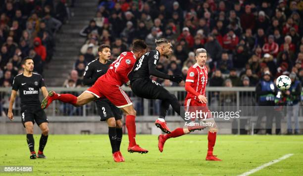 Corentin Tolisso of Bayern Muenchen scores his sides second goal during the UEFA Champions League group B match between Bayern Muenchen and Paris...