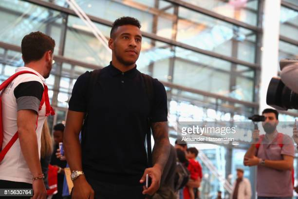Corentin Tolisso of FC Bayern Muenchen arrives at the airport prior to their team flight to Shanghai for the FC Bayern Muenchen PreSeason Tour on...