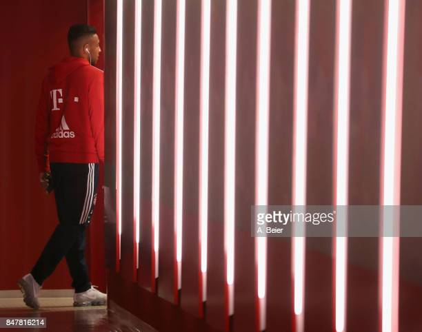 Corentin Tolisso of FC Bayern Muenchen arrives at the players' tunnel before the Bundesliga match between FC Bayern Muenchen and 1 FSV Mainz 05 at...