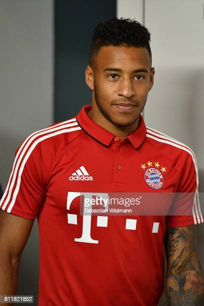 Corentin Tolisso of FC Bayern Muenchen arrives for a press conference at Saebener Strasse training ground on July 10 2017 in Munich Germany