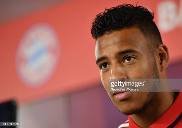 Corentin Tolisso of FC Bayern Muenchen attends a press conference at Saebener Strasse training ground on July 10 2017 in Munich Germany