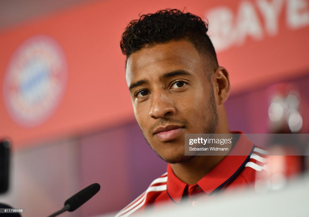 Corentin Tolisso of FC Bayern Muenchen attends a press conference at Saebener Strasse training ground on July 10, 2017 in Munich, Germany.