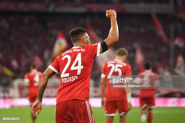 Corentin Tolisso of FC Bayern Muenchen celebrates his goal during the Bundesliga match between FC Bayern Muenchen and Bayer 04 Leverkusen at Allianz...