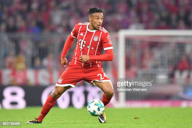 Corentin Tolisso of FC Bayern Muenchen controls the ball during the Bundesliga match between FC Bayern Muenchen and VfL Wolfsburg at Allianz Arena on...