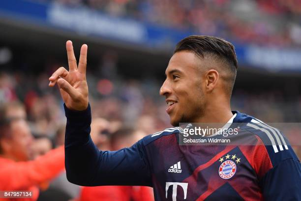 Corentin Tolisso of FC Bayern Muenchen gestures during the Bundesliga match between FC Bayern Muenchen and 1 FSV Mainz 05 at Allianz Arena on...