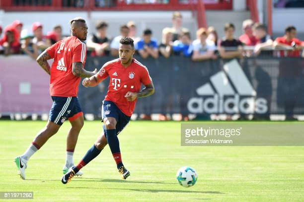 Corentin Tolisso of FC Bayern Muenchen in action during a training session at Saebener Strasse training ground on July 10 2017 in Munich Germany