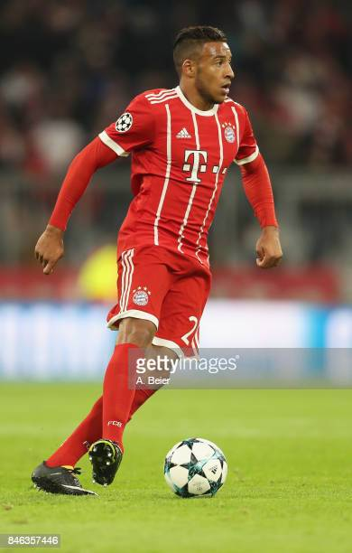 Corentin Tolisso of FC Bayern Muenchen kicks the ball during the UEFA Champions League group B match between Bayern Muenchen and RSC Anderlecht at...