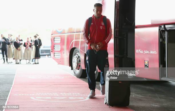 Corentin Tolisso of FC Bayern Muenchen leaves the team bus before the Bundesliga match between FC Bayern Muenchen and 1 FSV Mainz 05 at Allianz Arena...