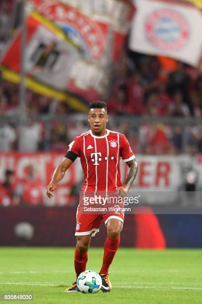 Corentin Tolisso of FC Bayern Muenchen plays the ball during the Bundesliga match between FC Bayern Muenchen and Bayer 04 Leverkusen at Allianz Arena...