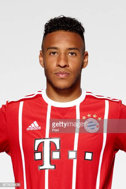 Corentin Tolisso of FC Bayern Muenchen poses during the team presentation at Allianz Arena on August 8 2017 in Munich Germany