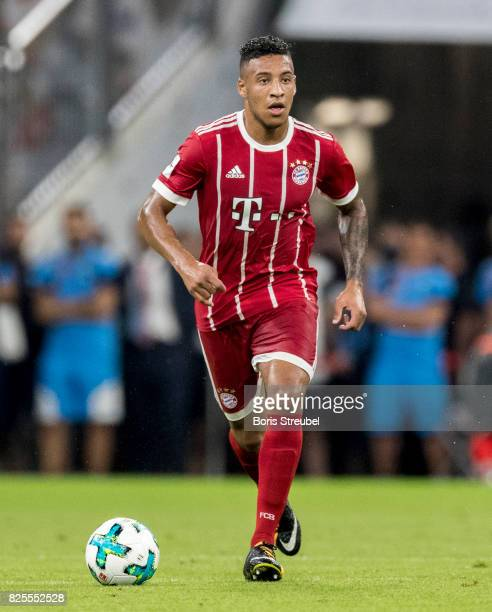 Corentin Tolisso of FC Bayern Muenchen runs with the ball during the Audi Cup 2017 match between Bayern Muenchen and Liverpool FC at Allianz Arena on...