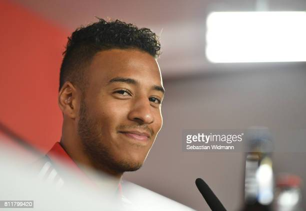 Corentin Tolisso of FC Bayern Muenchen smiles during a press conference at Saebener Strasse training ground on July 10 2017 in Munich Germany