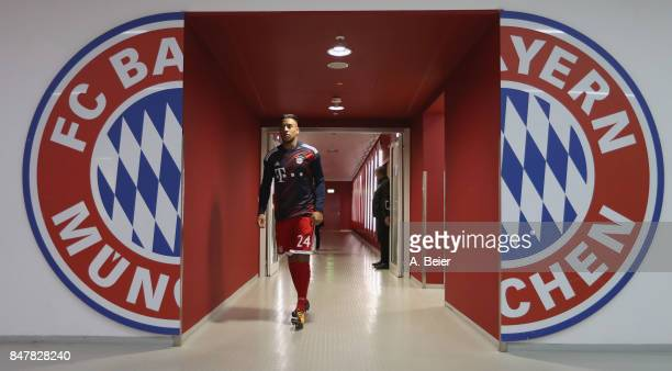 Corentin Tolisso of FC Bayern Muenchen walks along the players' tunnel before the Bundesliga match between FC Bayern Muenchen and 1 FSV Mainz 05 at...