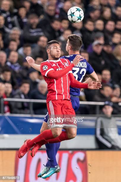 Corentin Tolisso of FC Bayern Munich Leander Dendoncker of RSC Anderlecht during the UEFA Champions League group B match between RSC Anderlecht and...
