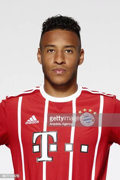 Corentin Tolisso of FC Bayern Munich poses during the team presentation at Allianz Arena on August 8 2017 in Munich Germany