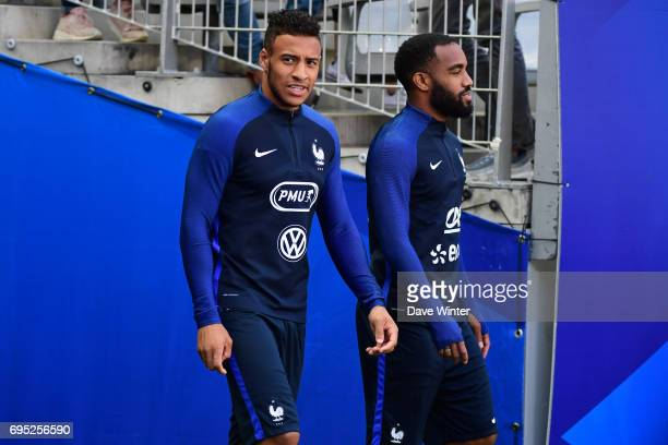 Corentin Tolisso of France and Alexandre Lacazette of France during the France training session at Stade de France on June 12 2017 in Paris France