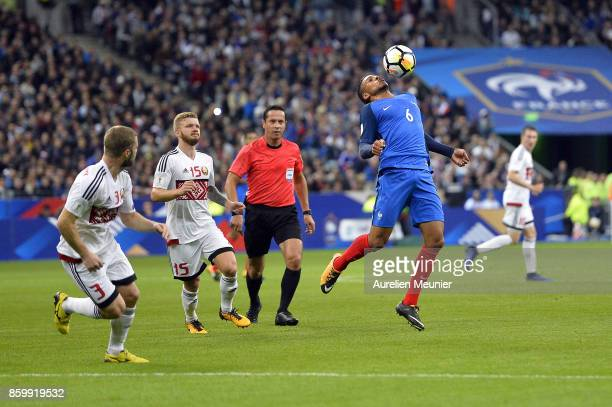 Corentin Tolisso of France controls the ball during the FIFA 2018 World Cup Qualifier between France and Belarus at Stade de France on October 10...