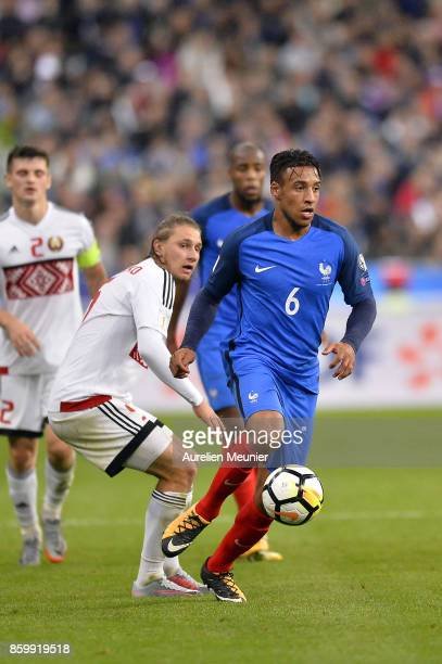 Corentin Tolisso of France runs with the ball during the FIFA 2018 World Cup Qualifier between France and Belarus at Stade de France on October 10...