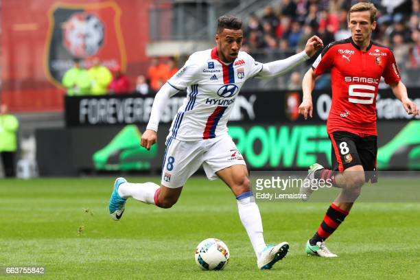 Corentin Tolisso of Lyon and Clement Chantome of Rennes during the French Ligue 1 match between Rennes and Lyon at Roazhon Park on April 2 2017 in...