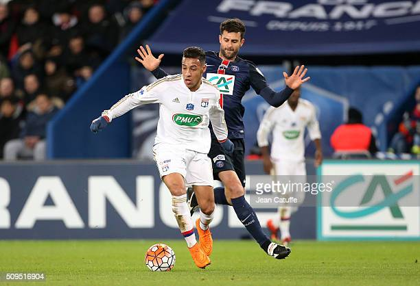 Corentin Tolisso of Lyon and Thiago Motta of PSG in action during the French Cup match between Paris SaintGermain and Olympique Lyonnais at Parc des...