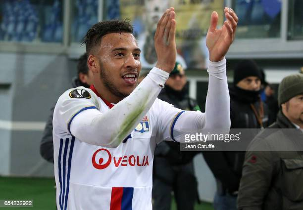 Corentin Tolisso of Lyon celebrates the qualification following the UEFA Europa League Round of 16 second leg match between AS Roma and Olympique...